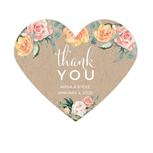 - Andaz Press Peach Coral Kraft Brown Rustic Floral Garden Party Wedding Collection, Personalized Heart Label Stickers, Thank You Anna & Steve January 4, 2020, 75-Pack, Custom Names and Date