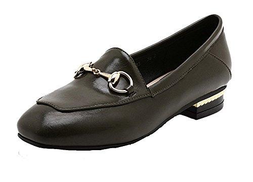 AllhqFashion Damen Niedriger Absatz PU Leder Rein Ziehen auf Quadratisch Zehe Pumps Schuhe Schwarz