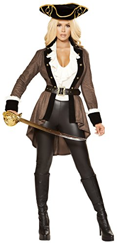 Musotica Sexy Adrift Swashbuckling Pirate Costume with Accessories - Brown - Large