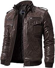 FLAVOR Men's Real Leather Motorcycle Jacket Genuine Pigskin Vintage B