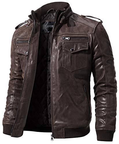 (FLAVOR Men Biker Retro Brown Leather Motorcycle Jacket Genuine Leather Jacket (XXX-Large, Dark Brown))