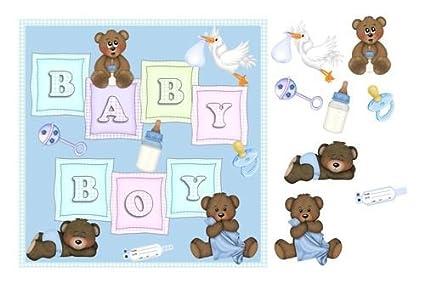 Baby Boy Tarjeta con bebé diseño de ositos, sonajero ...