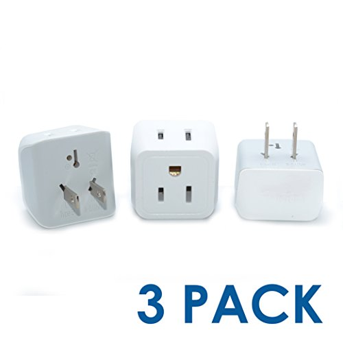 (Ceptics CT-6 USA to Japan, Philippines Travel Adapter Plug - Type A (3 Pack) - Dual Inputs - Ultra Compact)
