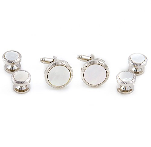 MRCUFF Mother of Pearl Designer Cufflinks & Studs Set in a Presentation Gift Box & Polishing (Polishing Mother Of Pearl)