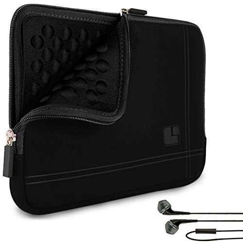 SumacLife Black Bubble Padded Shock Absorbent Tablet Sleeve with In-Ear...