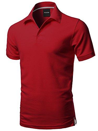 Solid Short Sleeves Basic Premium Quality Side Slit Polo Shirt Red S
