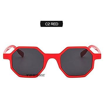 bee019a8c7 KLXEB Mujeres S Gafas De Sol Gafas De Sol Cuadradas Pequeñas Poligonales  Hembra 90 Tonos Retro Octagon Gafas De Sol,Rojo: Amazon.es: Deportes y aire  libre