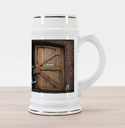 (Ambesonne Zombie Beer Stein Mug, Monsters behind Wooden Door Demon Halloween Holiday Fear Fantasy Picture, Traditional Style Decorative Printed Ceramic Large Beer Mug Stein, Umber Chestnut)