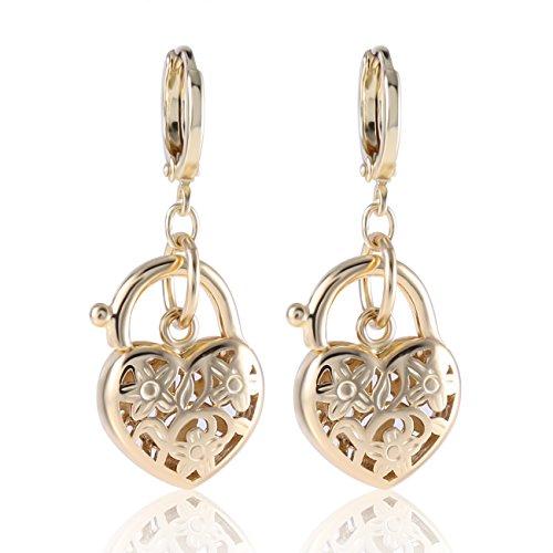 GULICX Gold Tone lovely shape Hollow Heart Girl Women Dangle Earrings