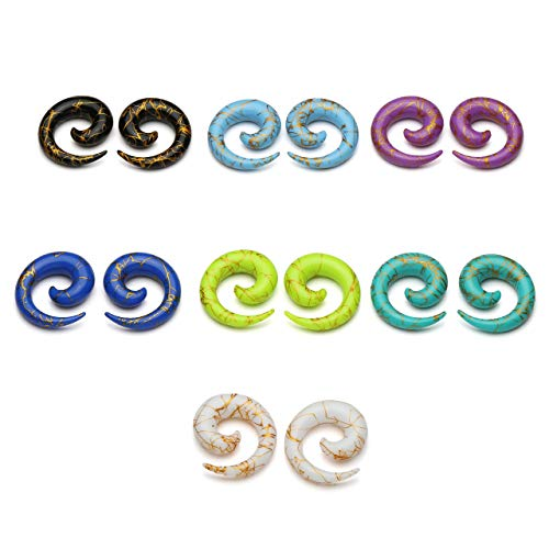 PiercingJ 14pcs Set Mixed 7 Colors UV Acrylic Spiral Snail Tapers Plug Sizes 14G-3/4 Taper Ear Stretching Kit Ear Gauges Plugs Kit