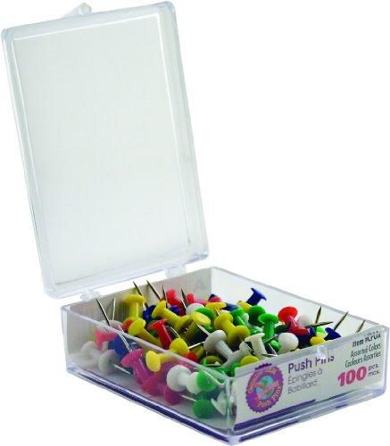 (ADVANTUS Plastic Head Push Pins, Steel Point, Box of 100, Assorted Colors)