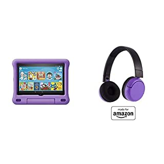 Fire HD 8 Kids Tablet 32GB Purple with Poptime (Ages 8-15) Bluetooth Headset