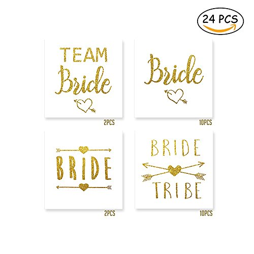 Bride Tribe Temporary Tattoo, Metallic Gold Flash Tattoo for Bachelorette Party, Bridesmaid Wedding Tattoo, Hen Party Flash Ink, 24-Pcs]()
