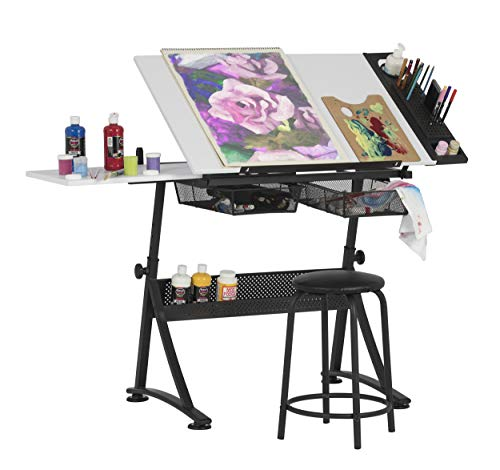 Studio Designs Modern Fusion Craft Center with 24″ Tray and Stool, Charcoal/White
