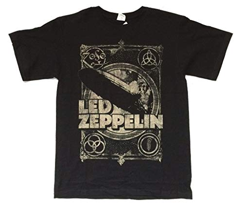 Real Swag Inc Led Zeppelin Burning Blimp Distressed Runes Images Black T Shirt (XL) (Led Zeppelin In Through The Outdoor Vinyl Value)