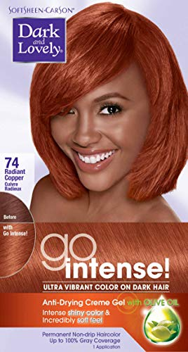 SoftSheen-Carson Dark and Lovely Go Intense Ultra Vibrant Color on Dark Hair, Radiant Copper 74 (Best Copper Hair Dye Box)