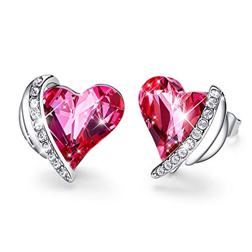 CDE Pink Angel Women Earrings Hypoallergenic Heart-Shape Embellished with Crystals from Swarovski Earring Studs 18K White Gold Plated Jewelry Gift for Women