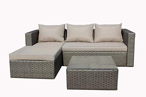 Brema 052261 Alu-Geflecht-Loungeset 3-teilig, 1 Sofa 2 Sitzer und 1 Ottomane mit Sitz- und Rückenkissen, 1 Tisch mit Glasplatte, 65 x 65 x 32 cm, grau / taupe