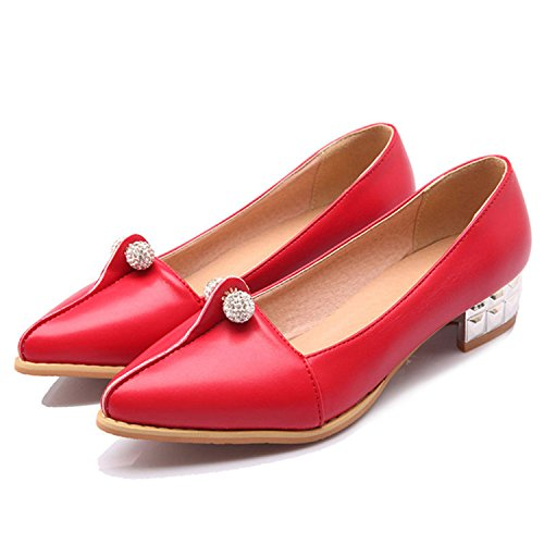 Red Shoes Fashion 8 Kenavinca Casual Shoes Female Women's 34 Large Q1 Toe Woman Metal Shoes 47 Solid Size Shoes Spring Pointed Ballet Flats qYBgq1