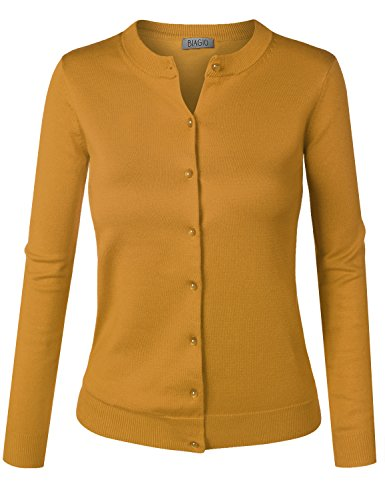 BIADANI Women Pearl Button Down Long Sleeve Soft Knit Cardigan Sweater Mustard ()