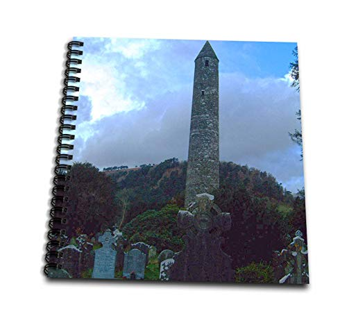 3dRose Jos Fauxtographee- Irish Graveyard - A Tall Tower at a Graveyard in Ireland with Head Stones - Memory Book 12 x 12 inch (db_304172_2)