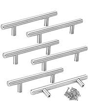Mila-Amaz 6 Stks RVS Kast T Bar Handvat Keuken Kast Deurknoppen met Schroeven, Zilver