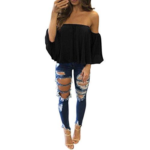 Canserin Hot Sale! Women Blouse, Women's Chiffon Long Sleeve T-Shirt Tops Casual Off Shoulder Blouse Pullover (XL, Black)