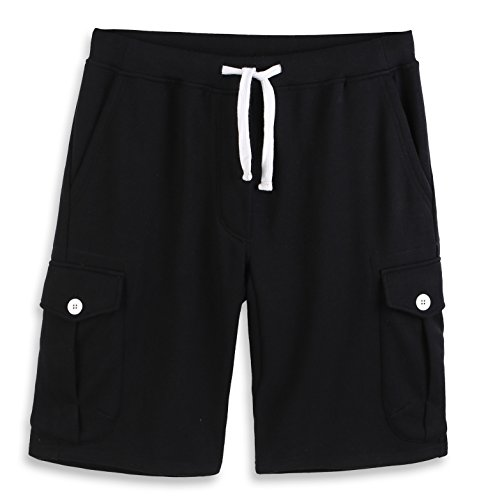 HARBETH Men's Classic-Fit 5-Pockets Cargo Short Cotton Elastic Fleece Gym Shorts Black XXL ()