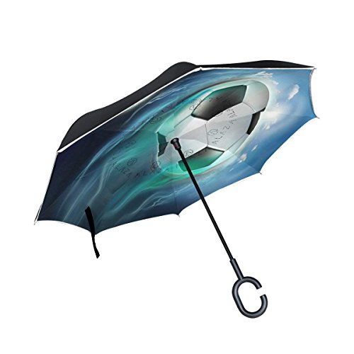 Chu warm Space Soccer Ball Moon Inverted Umbrella, Large Double Layer Outdoor Rain Sun Car Reversible Umbrella ()