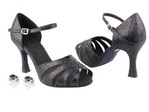Dames Femmes Chaussures De Danse De Salon Très Fine Eksa3850 Sera 2.5 Talon Avec Des Protecteurs De Talon Noir Stardust Et Maille Noire