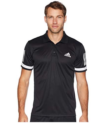 (adidas Men's Tennis Club 3-Stripe Polo Black/White Large)