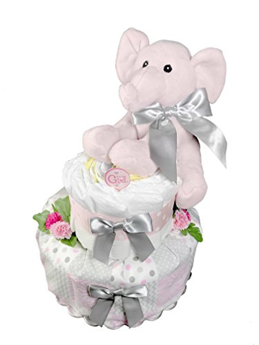 Elephant Diaper Cake for a Girl - Baby Shower Centerpiece Pink and Gray