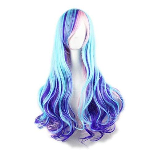 Ruina Mermaid Wigs for Women Blue Mixed Pink Colorful Cosplay Wig Long Wavy Halloween Costume Wigs for Girls -