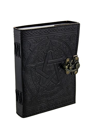 Pentagram Embossed Black Leather Bound Journal 5x7 in.