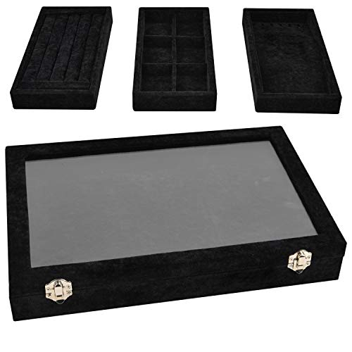 VIEFIN Velvet Stackable Jewelry Tray with Lid, Earring Drawer Insert Display Show Case, Dresser Organizer for Ring Stud, Necklace Holder Storage Box Chest,Black 4 in 1(with lid)