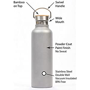 Gypsy Color Pure Flask 500ml (17 ounce) Insulated Water Bottle for Sport Hydration with BPA Free Stainless Steel Water Bottle, Grey Durable Paint with Wide Mouth Swivel Handle and Bamboo