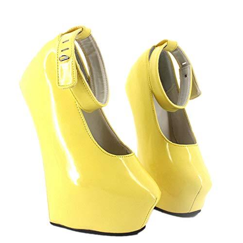 Sorbern Heelless Hoof Women Pumps Ankle Straps Platform Fetish High Heels Shoe Multi Colors (15 M US,Yellow Patent) - Fetish Ankle Strap Pump