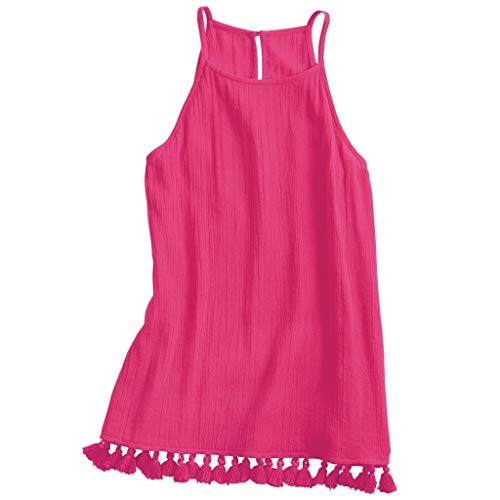 Mud Pie Georgia Tassel Cotton Tank In Womens Clothing Shirt Fuschia (Medium) ()