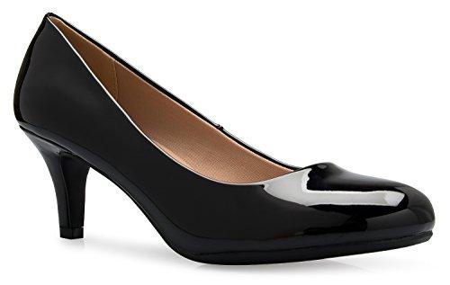 Dress Round Black Kitten Women's Low Pumps K Heel Mid Toe Patent Comfort Classic OLIVIA IUv6wq71