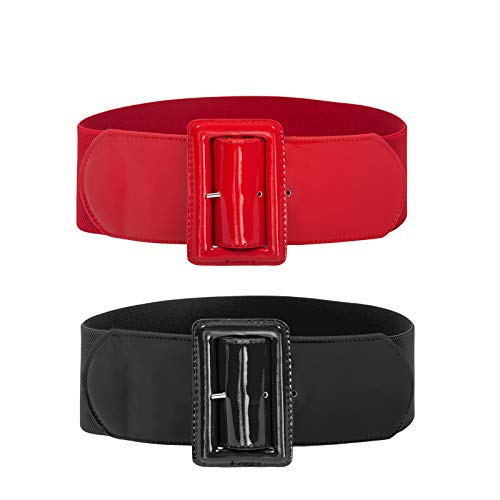 2 Pieces Women's Ladies Elastic Stretch Wide Vintage Waist Belt Black+Red Size M