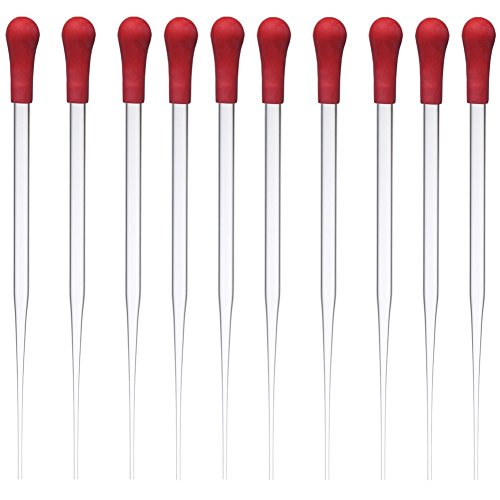 Glass Pipette Dropper with Red Rubber Cap Dropping Pipet Liquid Essential Oil Transfer 10 Pcs (Plastic Pipet Transfer)