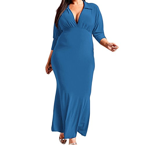 Dress Evening V Casual Plus Summer 4 Sleeve 3 Dresses Maxi Long Womens Size Solid Blue Party Neck xZg1q7g