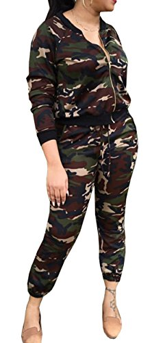 [Lovaru Women's Hawaii Coconut Printing 2 Piece Jacket Suit (Medium, Army green)] (Army Outfits For Women)