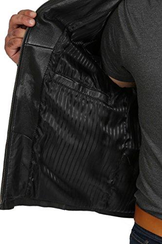 Herren Echtes Leder Beiläufig Klassische Zip Box Jacke Gepaßter Schnitt Sylvester Schwarz