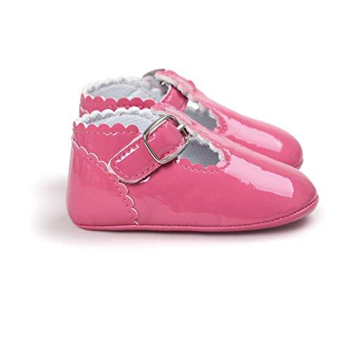 MuSheng Krabbelschuhe Babyschuhe Kleinkind Weiche Sohle Hausschuhe Schwarz Sandalen für Mädchen Rose