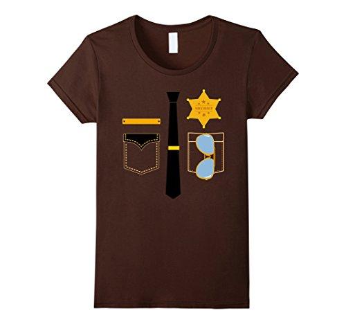 Womens Police Sheriff Uniform Costume Halloween T-Shirt Small Brown
