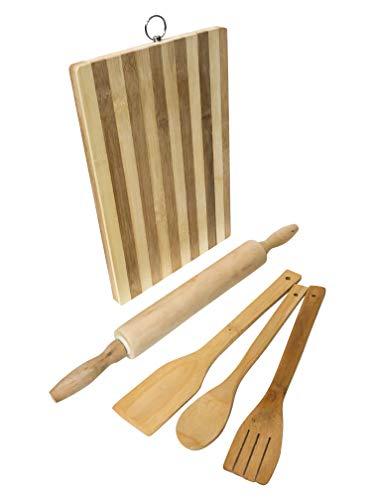 Premium Organic Two Tones Medium Bamboo Cutting Board 13x9 Chopping Block (Including Classic Bamboo Rolling Pin and Utensil (Classic Bamboo Cutting Board)