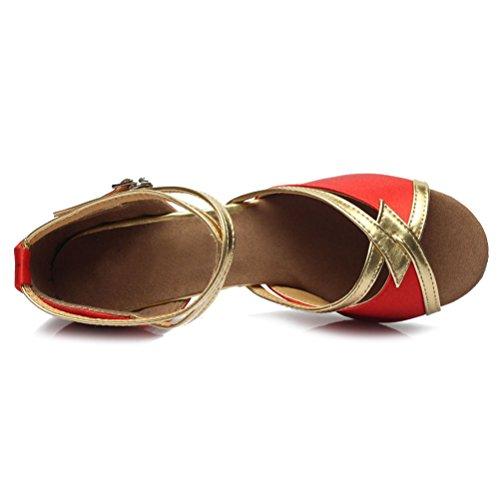 SWDZM Dance Latin Satin Shoes Model 225 UK Ballroom Women 7cm Red rgfaqr