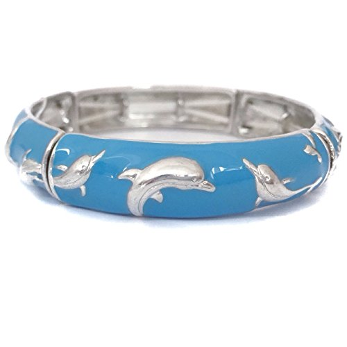 Jumping Dolphin Dangle - Blue Enamel Jumping Dolphin Stretch Bracelet