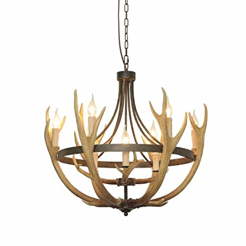 """EFFORTINC Resin Antler Chandeliers 9 Light 26.7"""" Diameter X 25.6"""" Tall with 4 Feet Matching Chain(Bulbs Not Included)"""